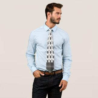 Rustic Stags Head Grey Tartan Pattern Tie