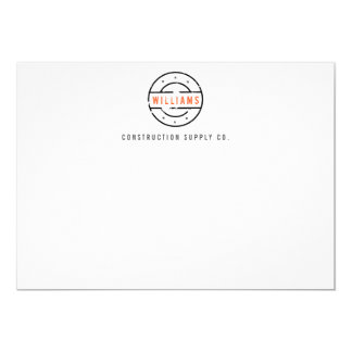 Rustic Stamped Logo Personalized Flat Notecard