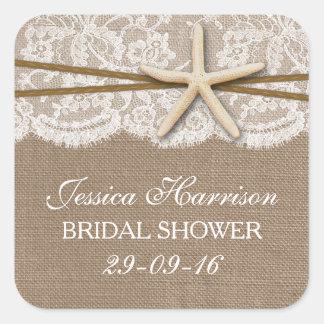 Rustic Starfish Beach Bridal Shower Square Sticker