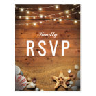 Rustic Starfish Beach Lights Tropical Wedding RSVP Postcard