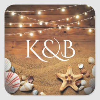 Rustic Starfish Beach Lights Tropical Wedding Square Sticker