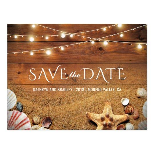Rustic Starfish Beach Tropical Save the Date Postcard