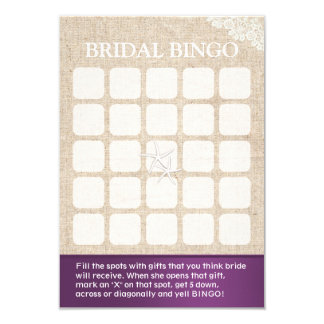 Rustic Starfish Beach Wedding Bridal Shower Bingo Card