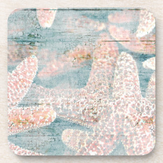 Rustic Starfish Teal Blue Coaster
