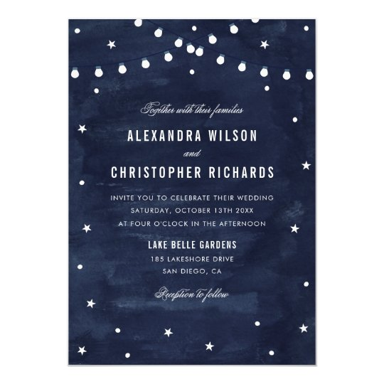 Rustic Starry Night String Lights Wedding Card