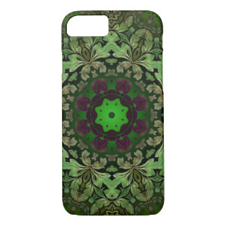 rustic steam punk green damask pattern iPhone 7 case