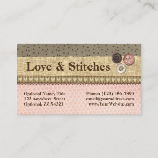 Sewing business cards business card printing zazzle uk rustic stitched ribbon buttons on burlap sewing business card colourmoves