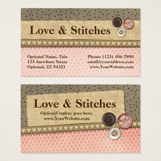 Rustic Stitched Ribbon & Buttons on Burlap Sewing Business Card