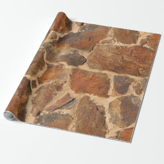 Rustic Stone Wall Structure Geology Warm Glow Wrapping Paper