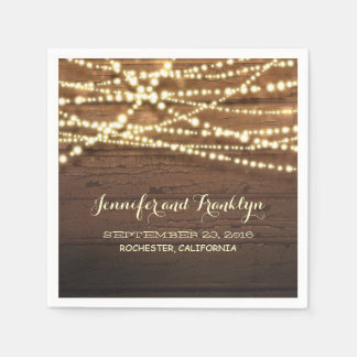 Rustic String Lights and Barn Wood Paper Napkins