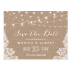 Rustic String Lights Burlap Lace | Save the Date Postcard