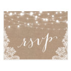 Rustic String Lights Burlap Lace Wedding RSVP Postcard