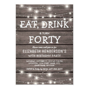 Rustic String Lights Forty Birthday Party