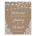 Rustic String Lights Lace Burlap Wedding Sign