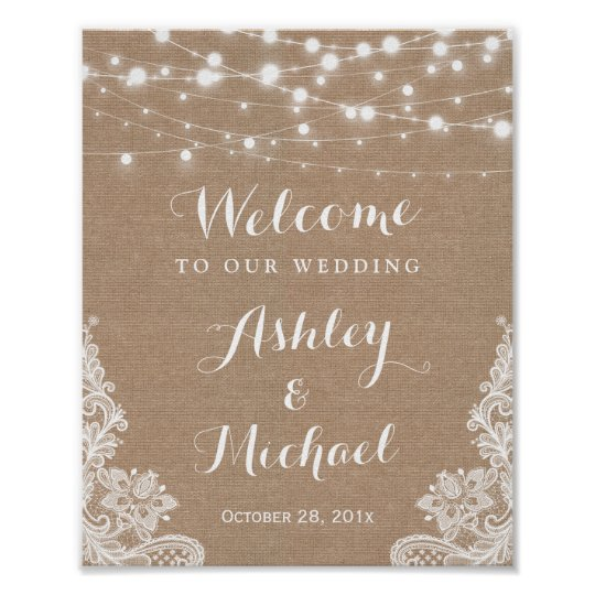 Rustic String Lights Lace Burlap Wedding Sign Poster