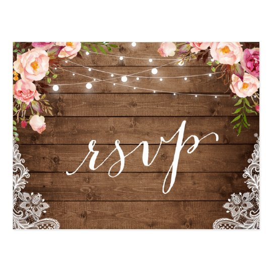 Rustic String Lights Lace Floral Farm Wedding RSVP