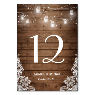 Rustic String Lights Lace Wedding Table Number