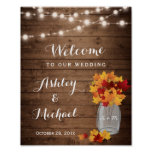 Rustic String Lights Mason Jar Fall Wedding Sign