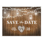 Rustic String Lights Mason Jar Wood Save the Date Postcard