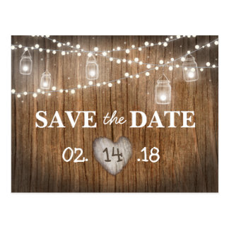 Rustic String Lights Mason Jar Wood Save the Date Postcard