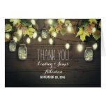 Rustic string lights & mason jars fall thank you note card
