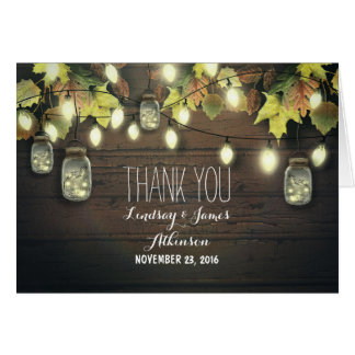 Rustic string lights & mason jars fall thank you card