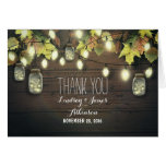 Rustic string lights & mason jars fall thank you note card