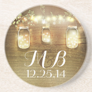 Rustic String Lights Mason Jars Wedding Coaster