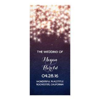 Rustic String Lights Navy Wedding Programs Full Color Rack Card