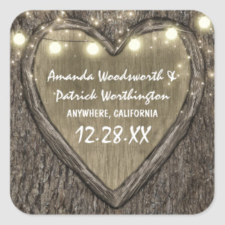 Rustic String Lights Oak Tree Bark Wedding Favors Square Sticker