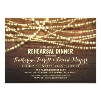 Rustic String Lights Romantic Rehearsal Dinner Custom Invites