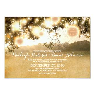 Rustic String Lights Romantic Wedding Invitation