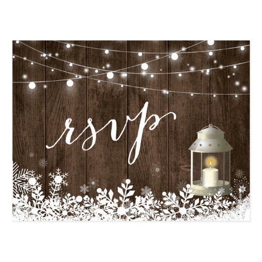 Rustic String Lights Snowflakes Wedding RSVP Postcard