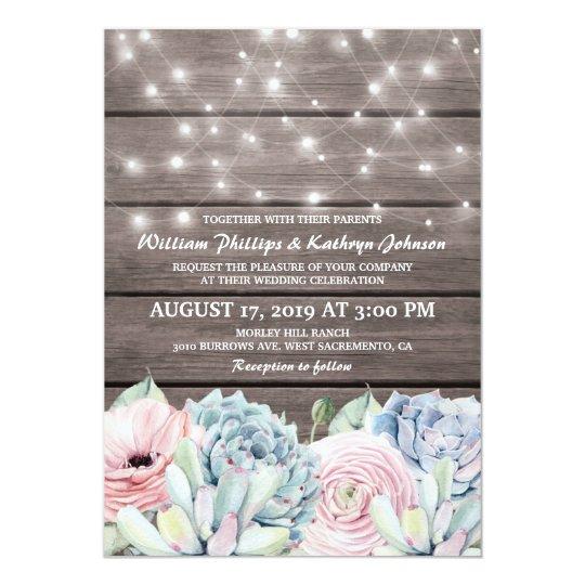 Rustic String Lights Succulent Floral Wedding Card
