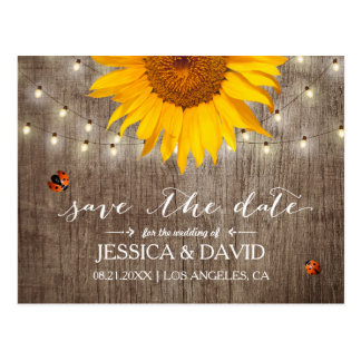 Rustic String Lights & Sunflower Save the Date Postcard