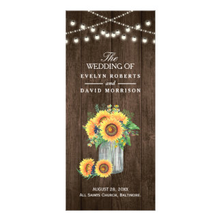 Rustic String Lights Sunflowers Wedding Program Personalised Rack Card