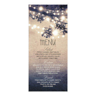 Rustic string lights wedding menu cards customized rack card