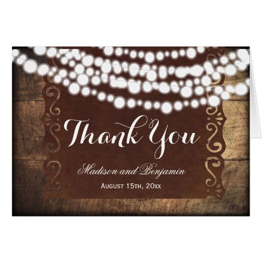 Rustic String Lights Wedding Thank You Cards