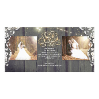 Rustic String Lights Wood Lace Wedding Thank You Photo Greeting Card
