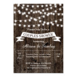 Rustic string lights wood wedding couples shower 13 cm x 18 cm invitation card