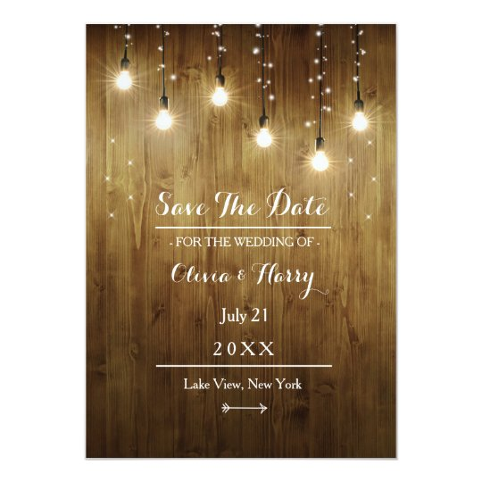Rustic String Of Lights Country Save The Date