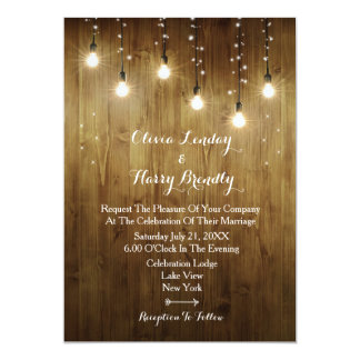 Rustic String Of Lights Country Wedding Invitation