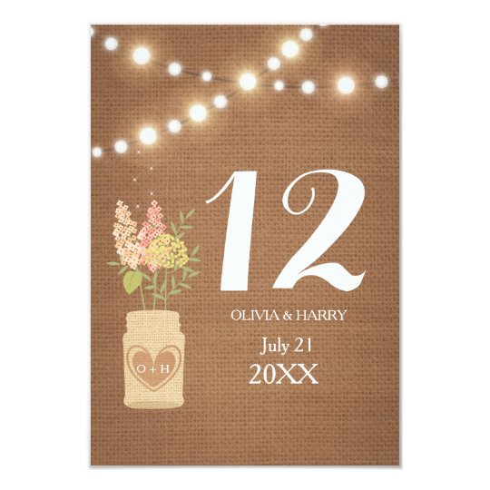 Rustic String Of Lights Wedding Table Number Card