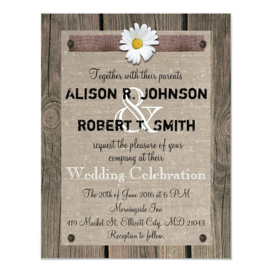 Rustic Style Wedding Invitation with Daisy