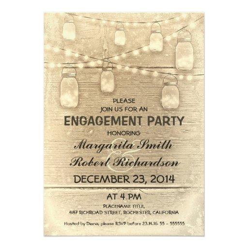 rustic stylish mason jars engagement party invitation