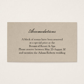 Rustic Succulent Wedding Accomodations Card