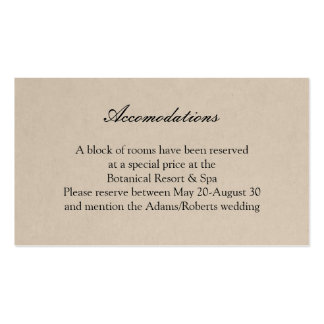 Rustic Succulent Wedding Accomodations Card Pack Of Standard Business Cards