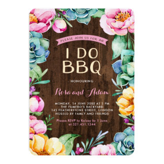 Rustic Succulents I Do BBQ Invitation