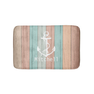 Rustic Summer Beach Wood Nautical Stripes & Anchor Bath Mats