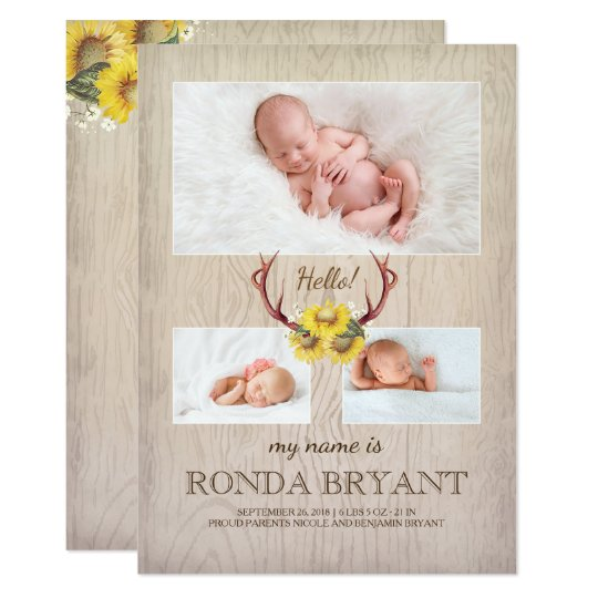 Rustic Sunflower and Antlers Wood Baby Photo Birth Card